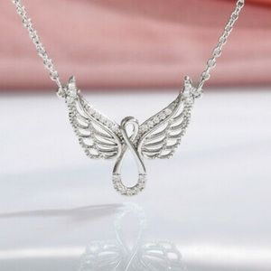 NEW 925 Sterling Silver Wings Necklace